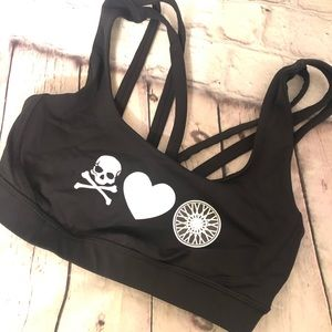 LULULEMON x SOUL CYCLE BLACK SKULL HEART SPORT BRA